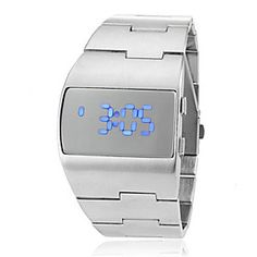 d0939a60bfc Men s Futuristic Blue LED Digital Silver Steel Band Wrist Watch  57.99  Reloj Deportivo