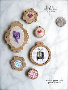 Set of 3 tiny ornamental embroidery hoop frames.  Each frame measures 1 inch in diameter. Features:  - Made from lightweight bamboo ply.  - 1.5mm