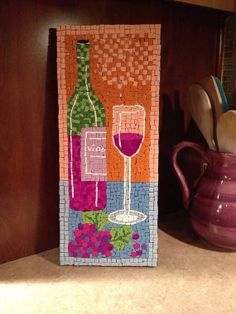 Wine bottle and glass mosaic home decor on Etsy, $45.00