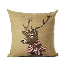 Monkeysell Elk Christmas Sell Like Hot Cakes The Giraffe Antlers Pattern Flax Square Sofa Home Decor Design Throw Pillow Case Cushion Covers 18 Inch S054A7 >>> Check this awesome product by going to the link at the image.