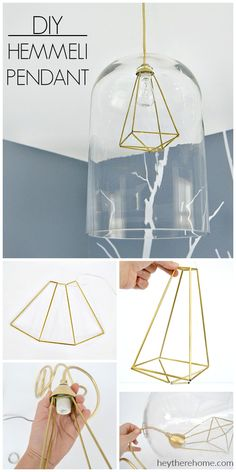 AMAZING! Modern geometric pendant light made from a hurricane and hemmeli art! Full tutorial at heytherehome.com