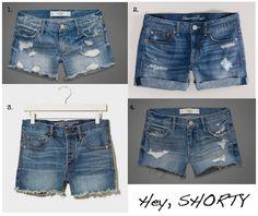 Cutoffs - 1) A Midi Length shorts destroyed medium wash