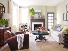 This living room mixes patterns perfectly. #hgtvmagazine