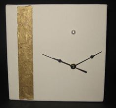 A working clock mounted on canvas and featuring Gold Leaf and a Pearl Harmony Design, Handmade Clocks, Craft Shop, Gold Leaf, Painting Inspiration, Artsy Fartsy, Pearls, Interior Design, Studio