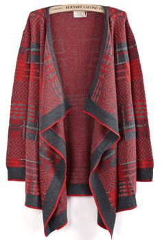 Red Contrast Grey Metallic Yoke Asymmetrical Cardigan EUR€22.67
