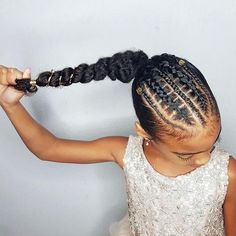 Faux stitch braids ponytail- hairstyles for curly little girls (braided ponytail cornrows) Famous Hairstyles, Lil Girl Hairstyles, Black Kids Hairstyles, Braided Ponytail Hairstyles, Natural Hairstyles For Kids, Ponytail Ideas, Teenage Hairstyles, Top Hairstyles, Beautiful Hairstyles