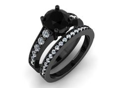 Skull Engagement Ring with wedding Band Genuine Black and white Diamonds  Solid  14K White Gold-UNDIC0325 by UntilDeathInc.com