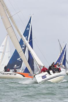 The Beneteau First 40 yacht Minx 3 racing during Cowes Week.