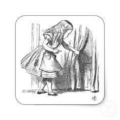 Alice vintage au pays des merveilles recherchant l autocollant