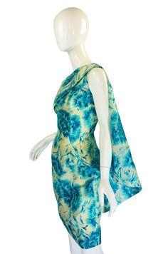 1950s Blue Print Draped Silk Wiggle Dress