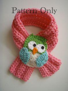 Crochet Owl Scarf Scarfette PATTERN PDF