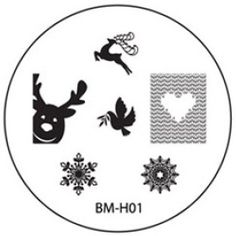 Bundle Monster plate BM-H01 Holiday Collection 2013 Christmaas reindeer, peace dove snowflake heart knit
