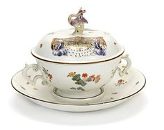 art history A Meissen armorial two-handled ecuelle, cover and stand, circa 1735.