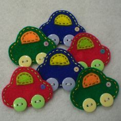 Handmade Cars Felt Applique (Main Colors). $4.54, via Etsy.
