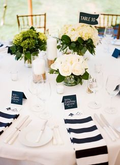 Navy & White Nautical Wedding - Inspired by This - SIMPLE CLEAN, WHITE WITH JUST HINT OF NAVY BLUE ON TABLE