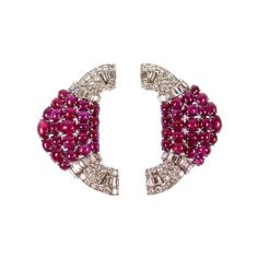 - Pair of Art Deco ruby and diamond cluster clip brooches, French c.1935,