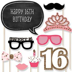 Sweet 16 party ideas for girls and boys photo booth props help to
