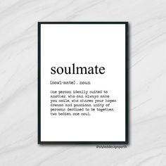 Soulmate Definition Print, Definition Poster, Word Meaning Print, Word Definition Art,  Dictionary Meaning, bedroom prints black and white