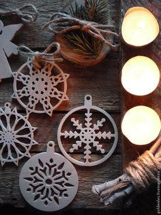 Купить Новогодний эко-декор - белый, эко-декор, новогодний декор, рождественский декор