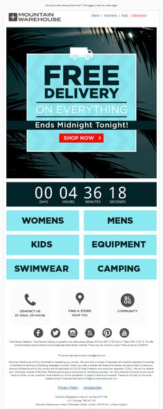Countdown Timer to end of free delivery from Mountain Warehouse #Emailmarketing #Email #marketing #CountdownTimer #Fashion #Retail #Hobbies