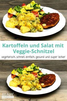 Kartoffeln und Salat mit Veggie-Schnitzel. So einfach und lecker und das alles ganz ohne Fleisch! So ein Veggie-Schnitzel kann dem Original verblüffend ähnlich sehen. Gerade bei Lipödem und den damit verbunden Schmerzen, hilft es vielen auf tierische Produkte zu verzichten. Dieses Veggie-Gericht ist noch dazu optimal zum abnehmen. Kalorienarm und dennoch sättigend und für die ganze Familie ein leckeres Gericht.  #vegetarisch #Lipödem #AbnehmenmitLipödem #gesundeErnährung #Veggieschnitzel Curry, Veggies, Vegan, Healthy, Ethnic Recipes, Food, Vegetarian Main Dishes, Potato, Meat