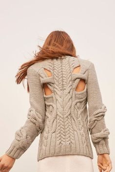 Nellie Partow Fall 2016 Ready To Wear Knit Cable Back Sweater