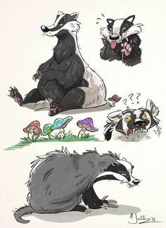 Badgers by dodgyrommer.deviantart.com  ★ || CHARACTER DESIGN REFERENCES™ (https://www.facebook.com/CharacterDesignReferences & https://www.pinterest.com/characterdesigh) • Love Character Design? Join the #CDChallenge (link→ https://www.facebook.com/groups/CharacterDesignChallenge) Share your unique vision of a theme, promote your art in a community of over 45.000 artists! || ★#cartoon #mustelid #toon