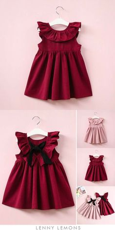 Cutest Dress. Martina Dress. The perfect dress formal or play dress. Chic tie back. Classic above the knee style. Ruffled O-neck collar. Comfortable all day, no lining. #LennyLemons #babygirl #toddler #girl