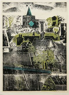 Untitled (townscape) by Sheila Robinson cardboard cut-out relief print. Linocut Prints, Poster Prints, Art Prints, Illustrations, Illustration Art, Cardboard Relief, Collage, A Level Art, Landscape Prints