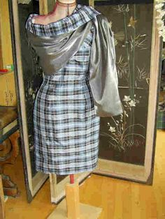Clark Tartan Dress and  reversible  Wrap/ Stole in Silk.with graphite silver contrast. Dress is strapless,and has a boned bodice.
