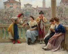 conversation_on_the_terrace_venice-Eugene de Blaas