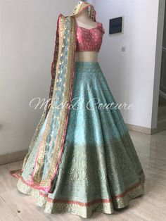 Colour wave, bridal lehenga by Mischb Couture Indian Bridal Outfits, Indian Bridal Lehenga, Indian Designer Outfits, Half Saree Lehenga, Lehnga Dress, Banarasi Lehenga, Patiala, Pakistani Dresses Casual, Indian Gowns Dresses