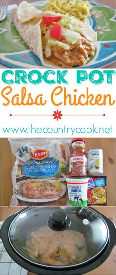 on picture to see this Crockpot Salsa Chicken recipe from The Country Cook Hands down one of my top favorite slow cooker recipes Love love love this stuff Its great in ta. Crock Pot Recipes, Crockpot Dishes, Slow Cooker Recipes, Chicken Recipes, Cooking Recipes, Easy Recipes, Crockpot Salsa Chicken, Crockpot Meals, Turkey Recipes
