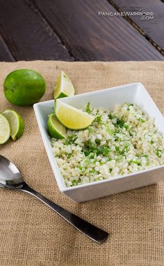 Love your veggies with this easy cilantro lime cauliflower rice! This simple side dish is ready in minutes and super tasty! Vegan, gluten free, low fat, paleo. low carb! | www.pancakewarriors.com