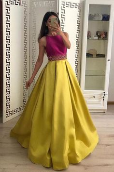 Stunning A Line Satin Yellow Beaded Sleeveless Long Prom Dresses · lass · Online Store Powered by Long Sleeve Gold Prom Dresses,Long Evening Dresses,Prom Dresses On Sale Want a glamorous red carpet look for a fraction of the price? Long Gown Dress, Lehnga Dress, The Dress, Dress Prom, A Line Long Dress, Full Gown, Prom Dresses For Sale, A Line Prom Dresses, Prom Gowns