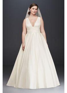 Satin Cummerbund Plus Size Wedding Dress 9V3848