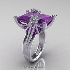 Modern Bridal 10K White Gold Radiant Lavender Amethyst Diamond Fantasy Cocktail Ring R292-10KWGDAM