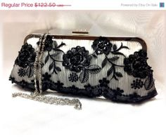 Bridal clutch, wedding clutch, Crystal clutch, bridesmaid evening bag, white clutch, French couture clutch, black clutch