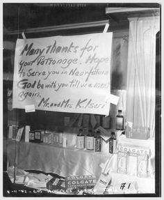 A heartbreaking sign left in a Little Tokyo store front window by Japanese Americans who were forced into internment camps following the outbreak of World War II, San Pedro, California  (Source: calisphere.universityofcalifornia.edu)