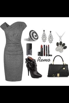 Grey dress and accessories