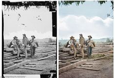 Prisoners of war: A colorized image of three Confederate prisoners and its original black and white stenograph, taken by Mathew Brady in 186...