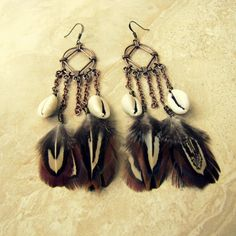 Chandelier Feather Earrings  Chain Chandelier by peacefrogdesigns, $25.00