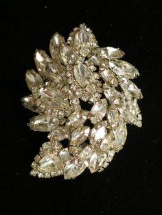 Juliana Double Layer Vintage Rhinestone Pin Brooch All Clear Rhinestones $60