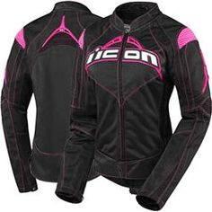 Icon Contra Womens Jacket - Black/Pink $225.00 from Motocrossgiant.com