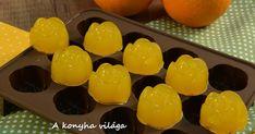Hozzávalók: 1,5dl  narancslé-frissen facsart 20g   zselatin Elkészítés: -A félbevágott narancsokat... Hungarian Recipes, Biscuits, Paleo, Food And Drink, Pudding, Fruit, Drinks, Marshmallows, Xmas