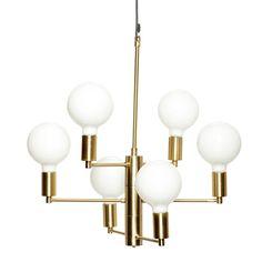 Lamp w/bulb, LED, brass/glass, w/black wire Size: 57xh59cm, E27/40W www.habvac.com