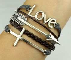 Charm bracelet arrow bracelet cross bracelet love by handworld, $5.49
