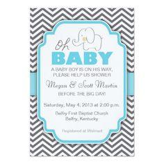 """Oh Baby"" Elephant Baby Shower Invitation - Blue & Gray Chevron / Custom Invites & Announcements / Allison LeAnn Design"