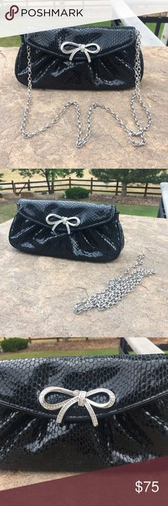 """Brighton black evening bag Brighton black evening bag with shoulder chain that can be adjusted from 11-20 inches or removed completely and becomes a clutch.  10"""" wide x 5"""" tall x 2"""" deep. Excellent condition Brighton Bags Mini Bags"""