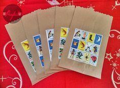 Bolsa de papel para dulces estilo loteria, mesa de postres boda por The Perfect Gift & decor / loteria Mexicana Paper bag style. Wedding dessert table, theperfectgift.info@gmail.com